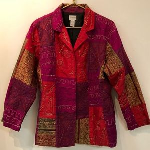 Chico's Patchwork Embroidered Beaded Women's Coat